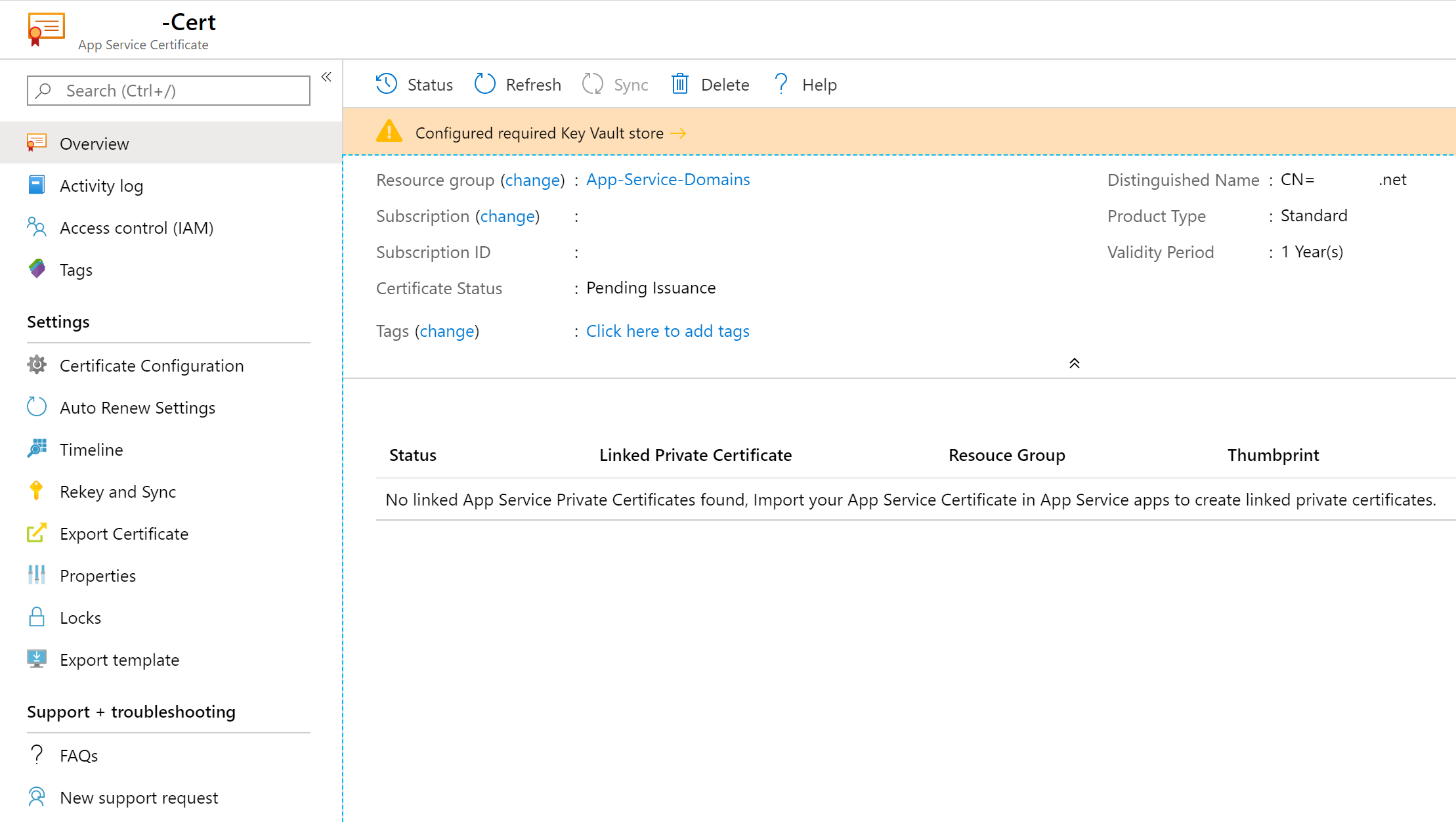 App Service Certificate requires validation